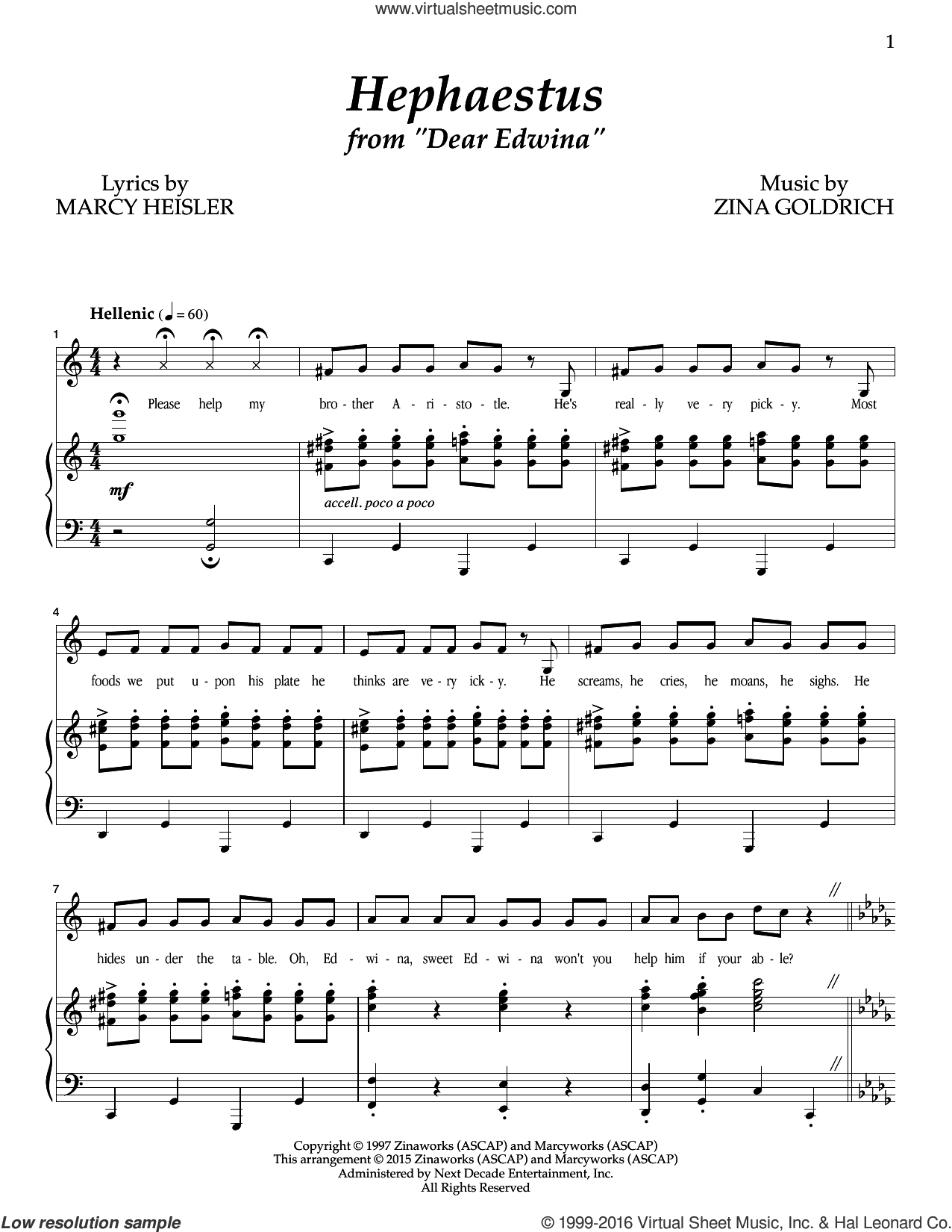 Hephaestus sheet music for voice and piano by Marcy Heisler, Goldrich & Heisler and Zina Goldrich. Score Image Preview.