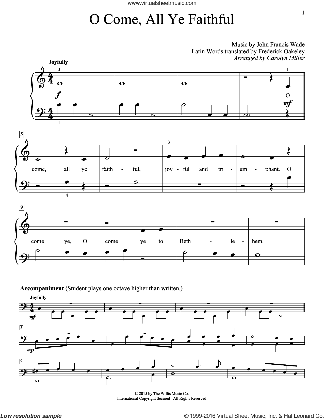 O Come, All Ye Faithful (Adeste Fideles) sheet music for piano solo (elementary) by John Francis Wade, Carolyn Miller and Frederick Oakeley (English), classical score, beginner piano (elementary). Score Image Preview.