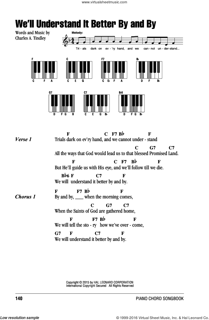 We'll Understand It Better By And By sheet music for piano solo (chords, lyrics, melody) by Charles A. Tindley. Score Image Preview.