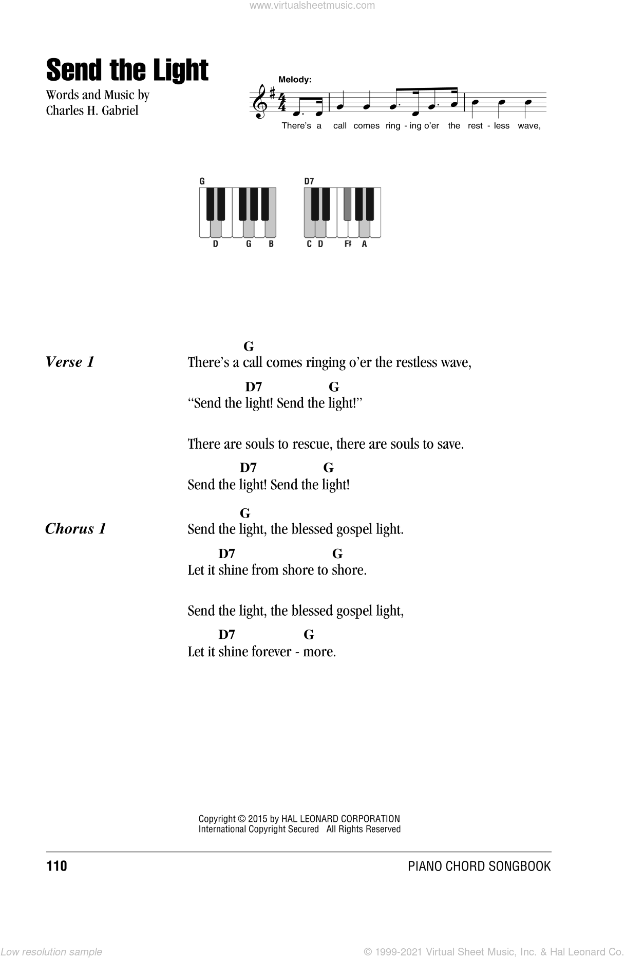 Send The Light sheet music for piano solo (chords, lyrics, melody) by Charles H. Gabriel, intermediate piano (chords, lyrics, melody). Score Image Preview.