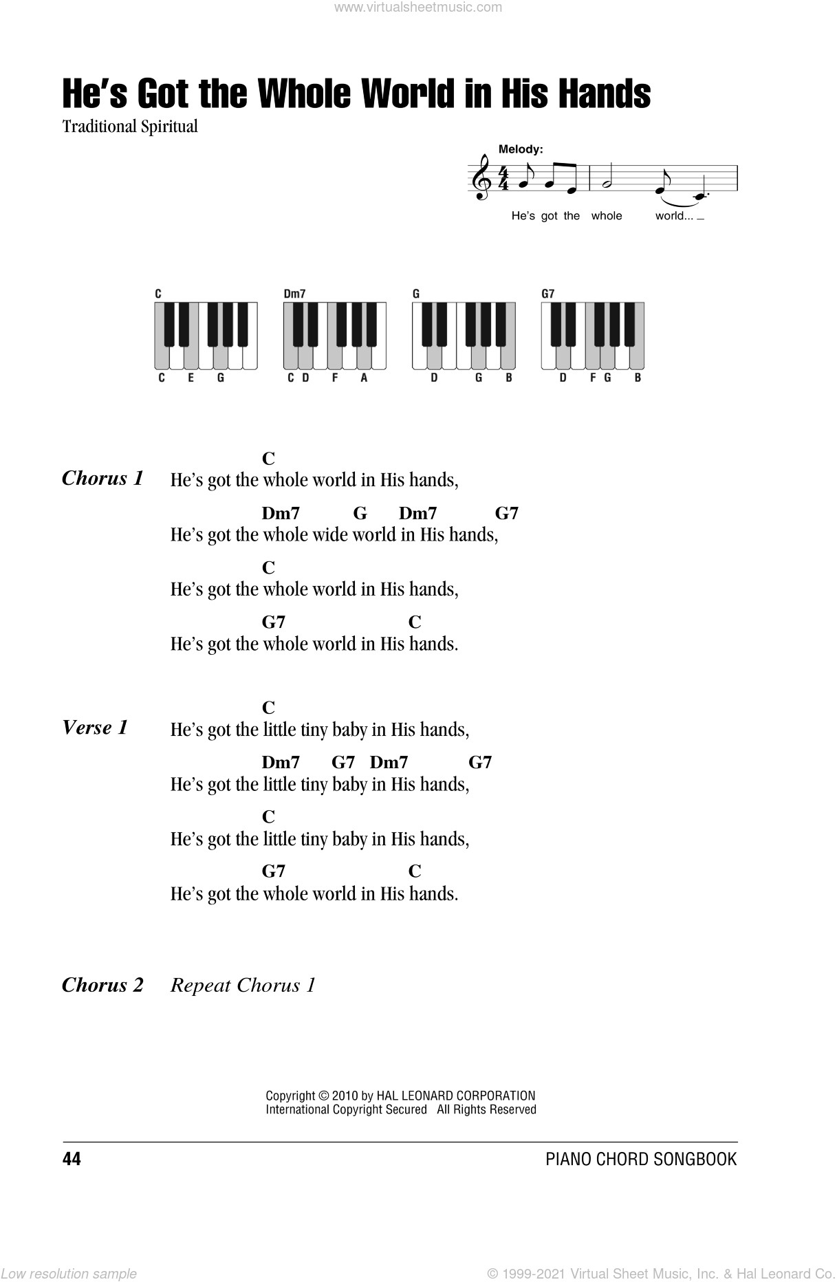 He's Got The Whole World In His Hands sheet music for piano solo (chords, lyrics, melody). Score Image Preview.