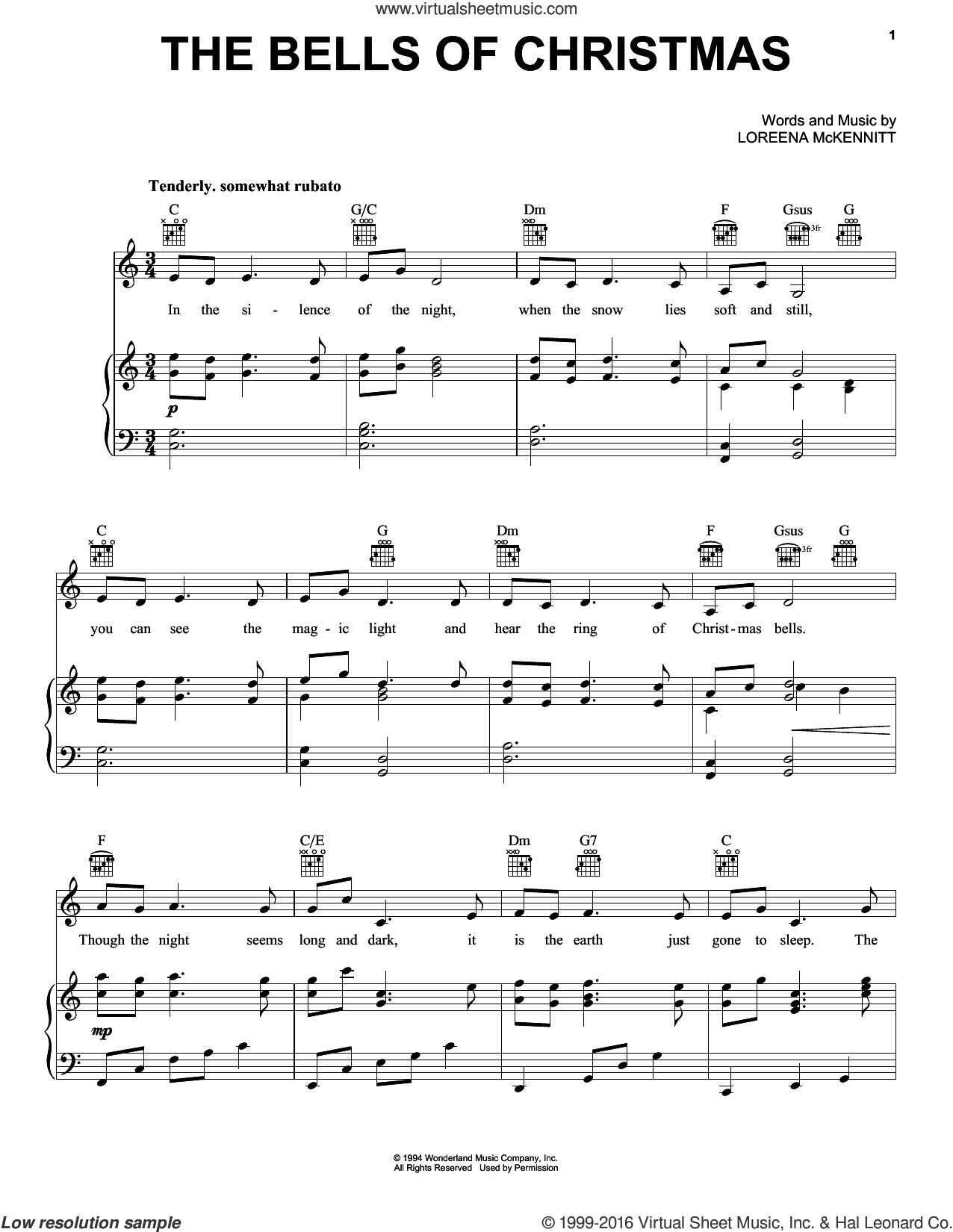 The Bells Of Christmas sheet music for voice, piano or guitar by Loreena McKennitt, intermediate skill level