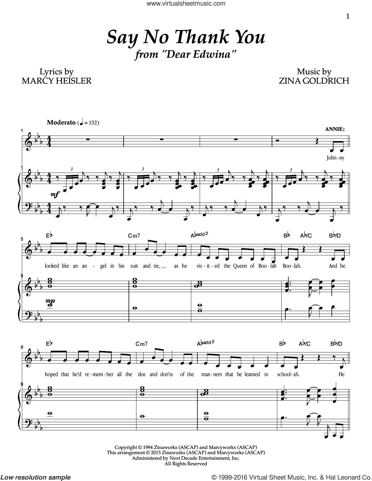 Say No Thank You sheet music for voice and piano by Marcy Heisler, Goldrich & Heisler and Zina Goldrich. Score Image Preview.