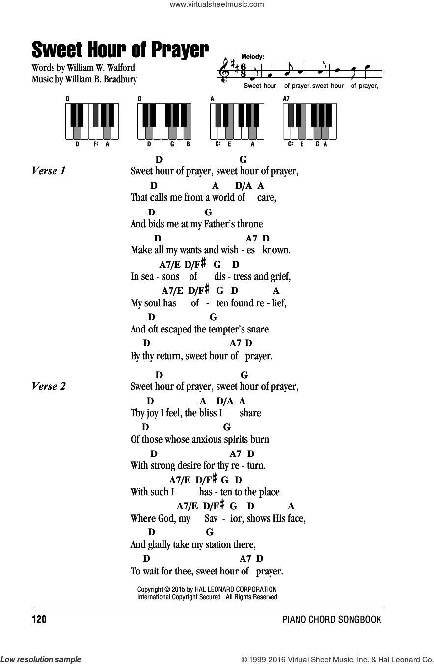 Sweet Hour Of Prayer sheet music for piano solo (chords, lyrics, melody) by William W. Walford and William B. Bradbury, intermediate piano (chords, lyrics, melody)