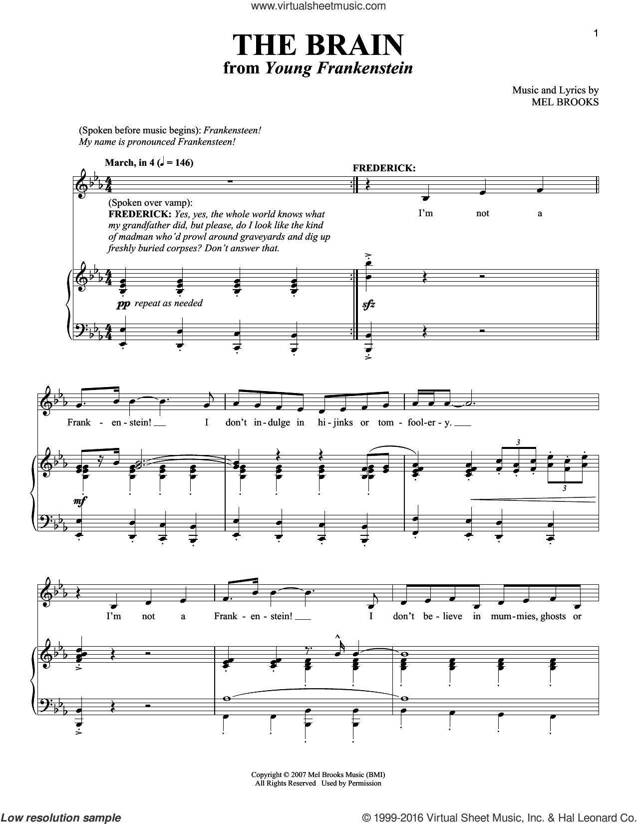 The Brain sheet music for voice and piano by Mel Brooks and Richard Walters. Score Image Preview.