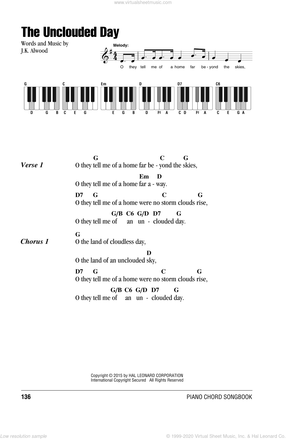 The Unclouded Day sheet music for piano solo (chords, lyrics, melody) by J.K. Alwood, intermediate piano (chords, lyrics, melody)