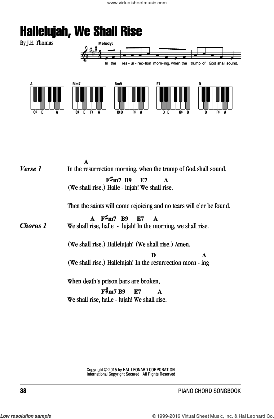 Hallelujah, We Shall Rise sheet music for piano solo (chords, lyrics, melody) by J.E. Thomas. Score Image Preview.