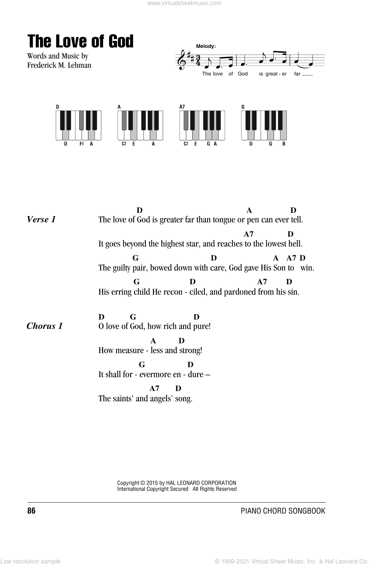 The Love Of God sheet music for piano solo (chords, lyrics, melody) by Frederick M. Lehman. Score Image Preview.
