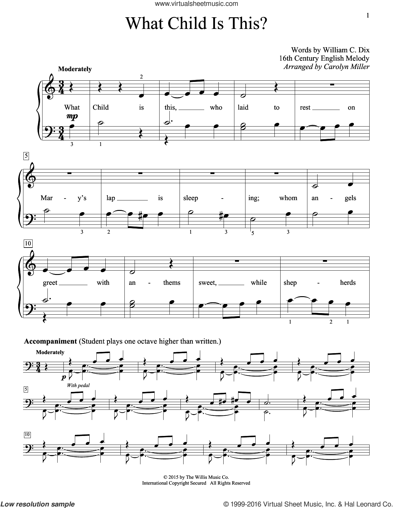 What Child Is This? sheet music for piano solo (elementary) by William Chatterton Dix, Carolyn Miller and Miscellaneous. Score Image Preview.
