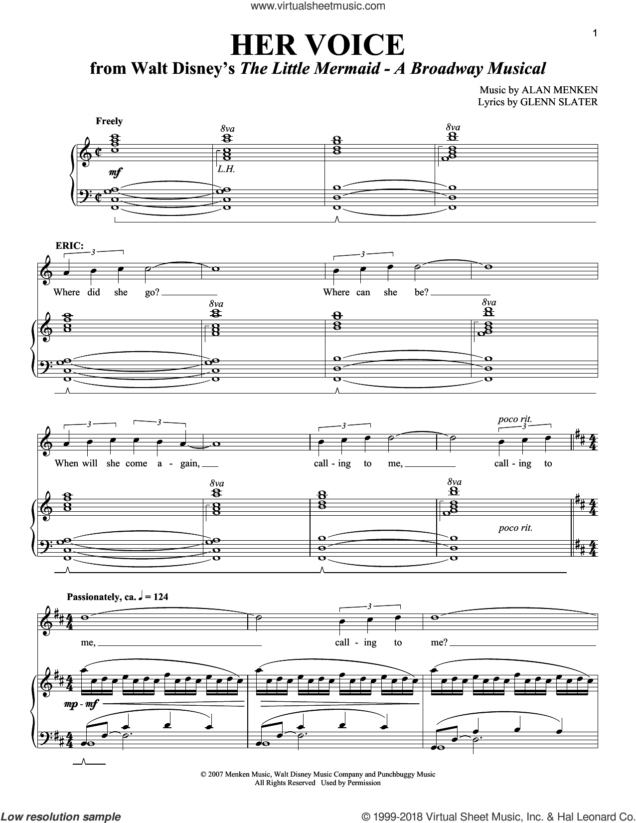Her Voice sheet music for voice and piano (Tenor) by Alan Menken, Richard Walters and Glenn Slater, intermediate skill level