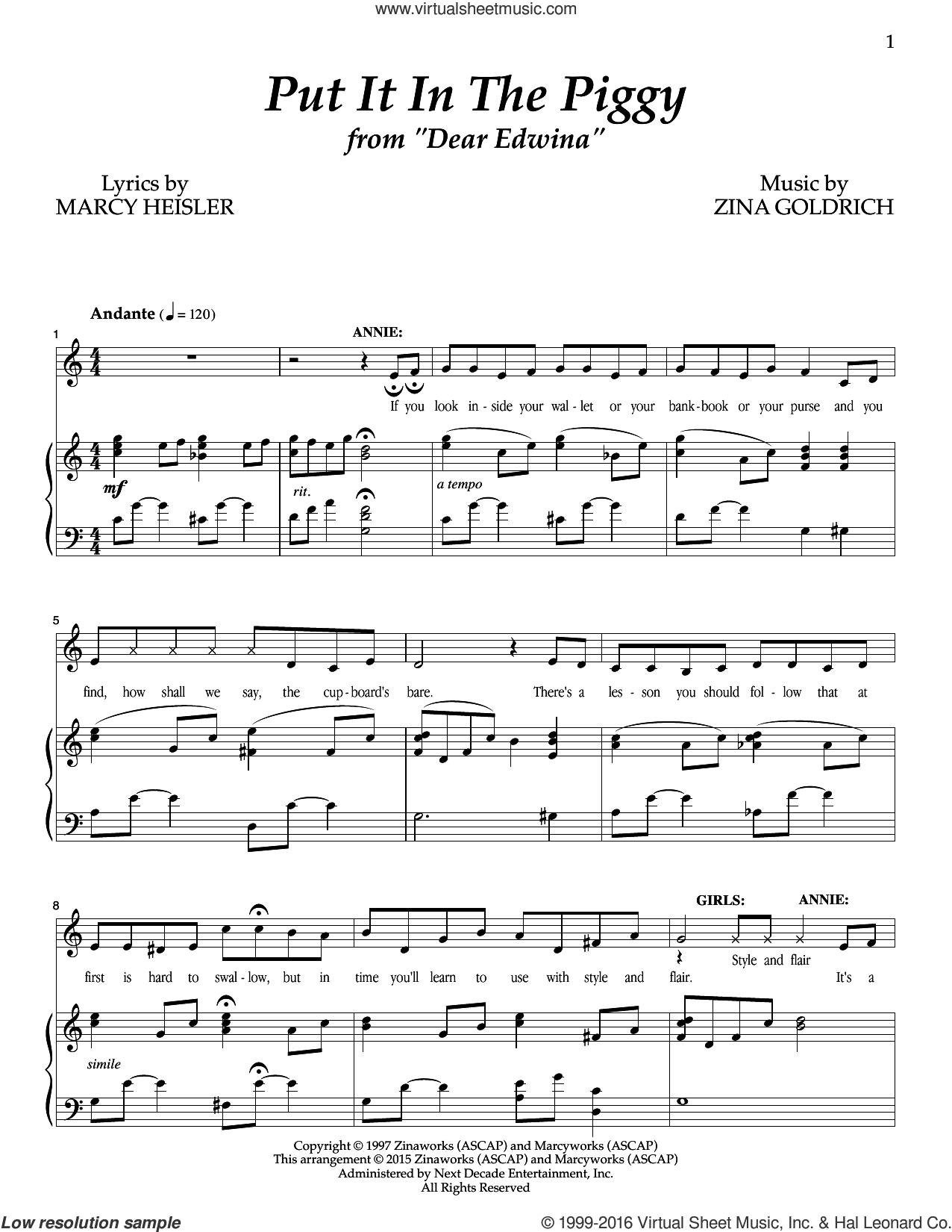 Put It In The Piggy sheet music for voice and piano by Marcy Heisler, Goldrich & Heisler and Zina Goldrich. Score Image Preview.