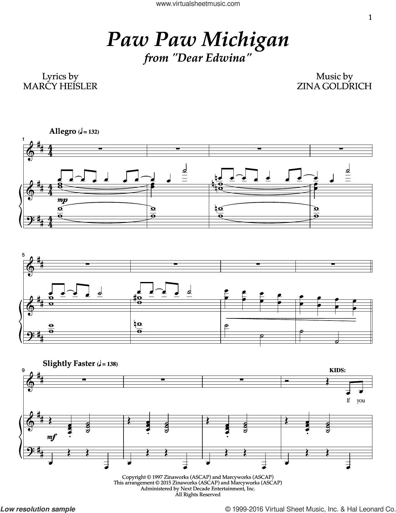 Paw Paw Michigan sheet music for voice and piano by Zina Goldrich, Goldrich & Heisler and Marcy Heisler. Score Image Preview.