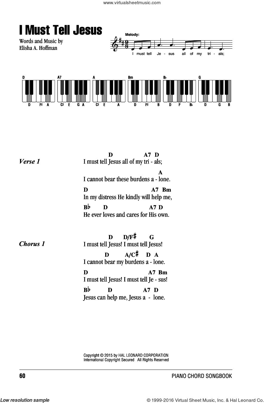 I Must Tell Jesus sheet music for piano solo (chords, lyrics, melody) by Elisha A. Hoffman, intermediate piano (chords, lyrics, melody). Score Image Preview.