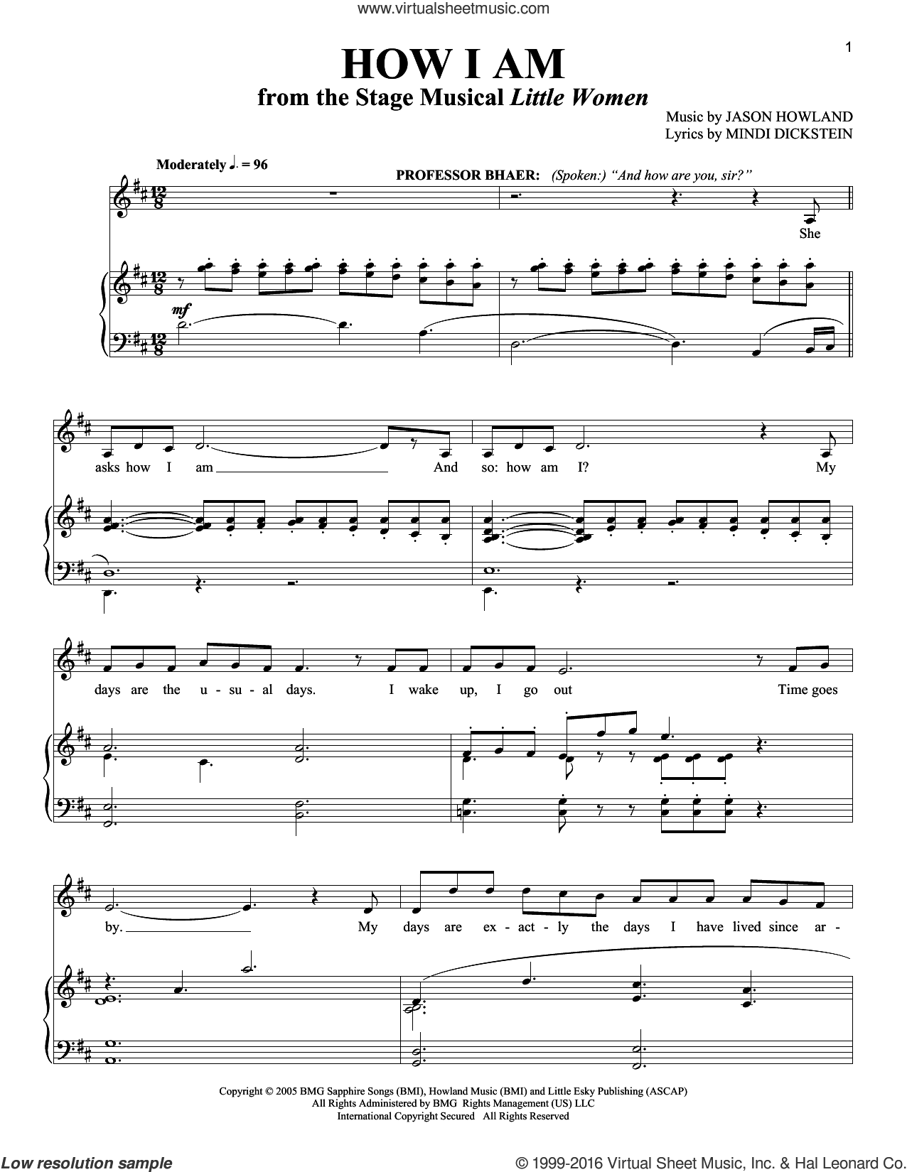 How I Am sheet music for voice and piano by Mindi Dickstein and Richard Walters, intermediate. Score Image Preview.