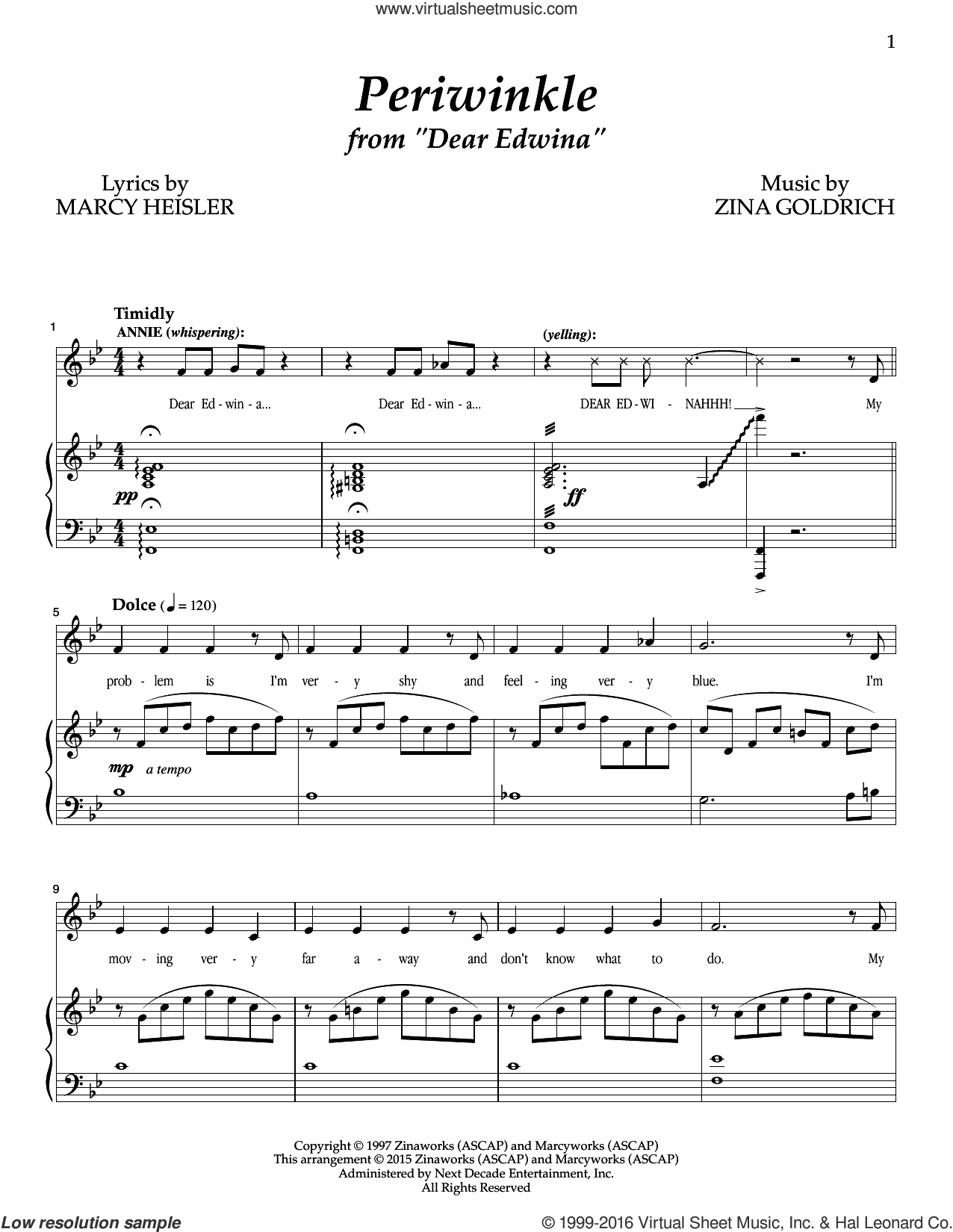 Periwinkle sheet music for voice and piano by Zina Goldrich, Goldrich & Heisler and Marcy Heisler. Score Image Preview.