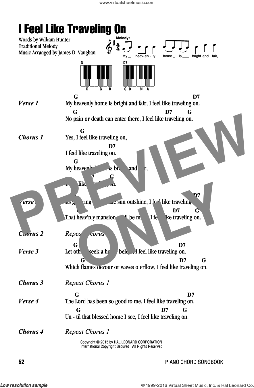 I Feel Like Traveling On sheet music for piano solo (chords, lyrics, melody) by James D. Vaughan, arranger. Score Image Preview.
