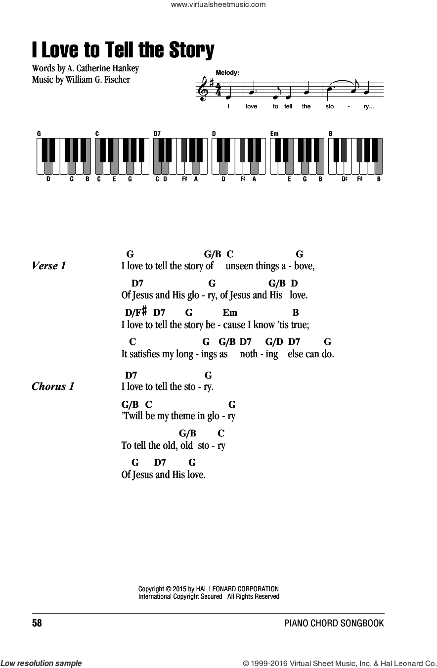 I Love To Tell The Story sheet music for piano solo (chords, lyrics, melody) by A. Catherine Hankey and William G. Fischer, intermediate piano (chords, lyrics, melody)