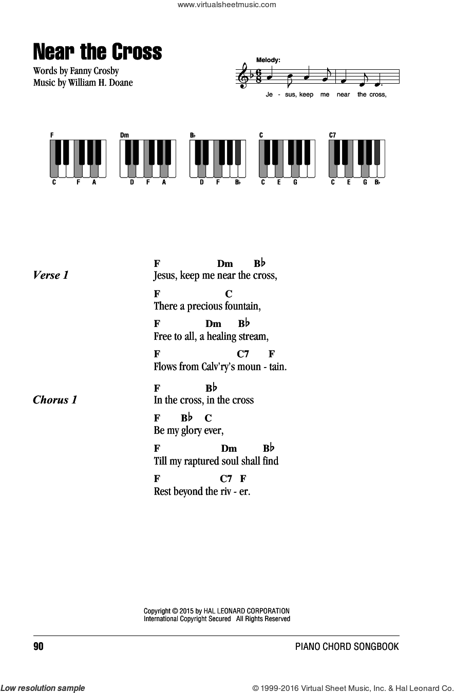 Doane - Near The Cross sheet music for piano solo (chords, lyrics, melody)