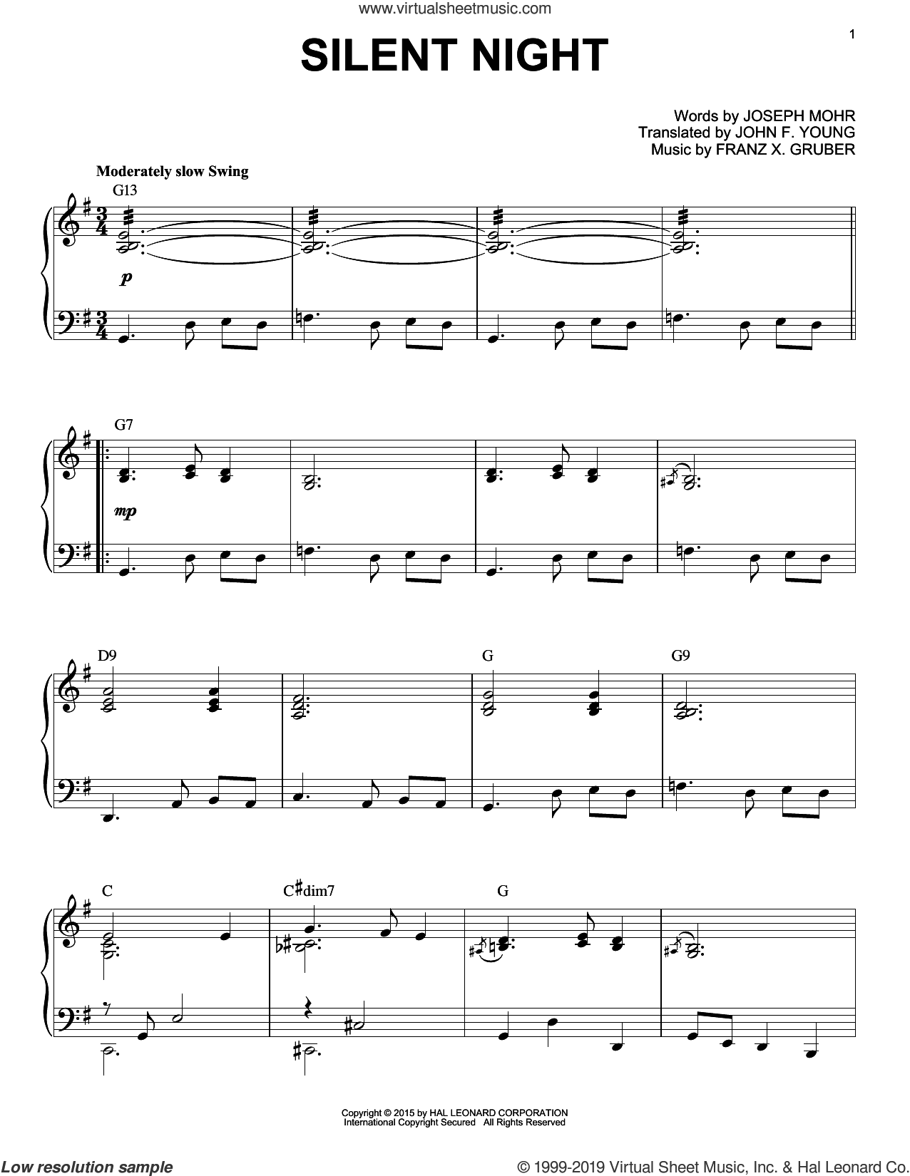 Silent Night [Jazz version] (arr. Brent Edstrom) sheet music for piano solo by Franz Gruber, Susan Boyle, John F. Young and Joseph Mohr, intermediate skill level