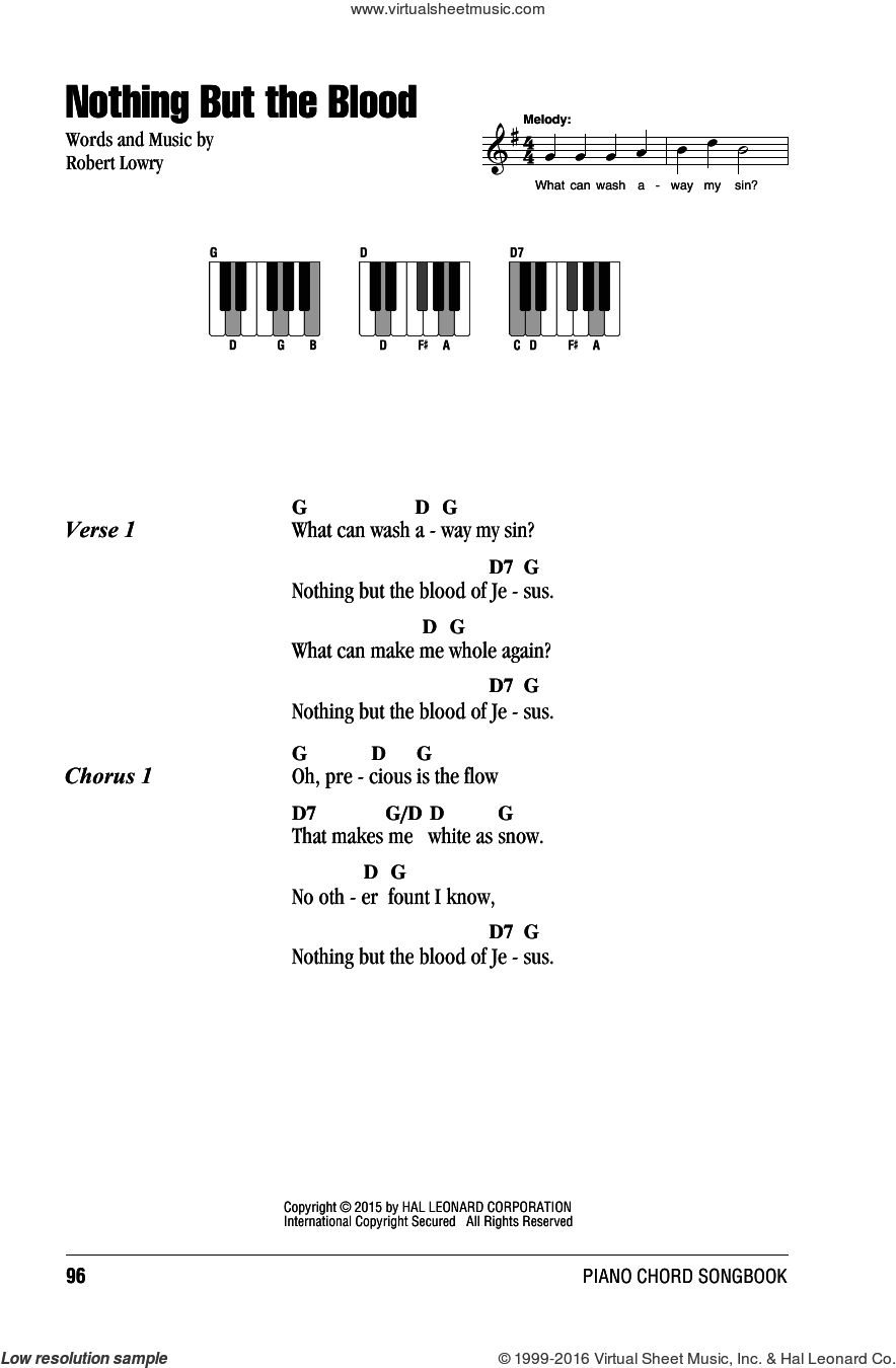 Nothing But The Blood sheet music for piano solo (chords, lyrics, melody) by Robert Lowry. Score Image Preview.