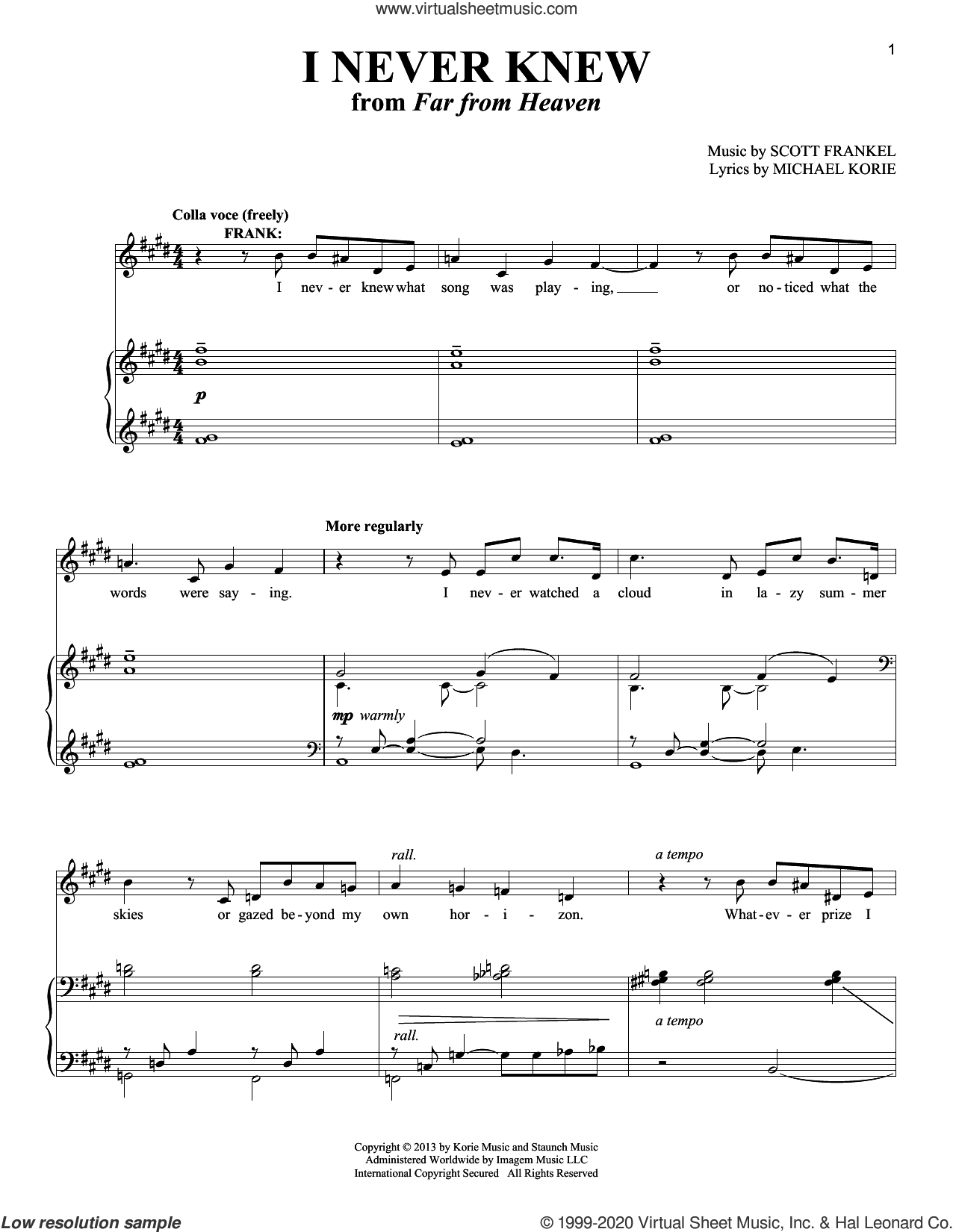 I Never Knew sheet music for voice and piano (Tenor) by Michael Korie, Richard Walters and Scott Frankel, intermediate skill level