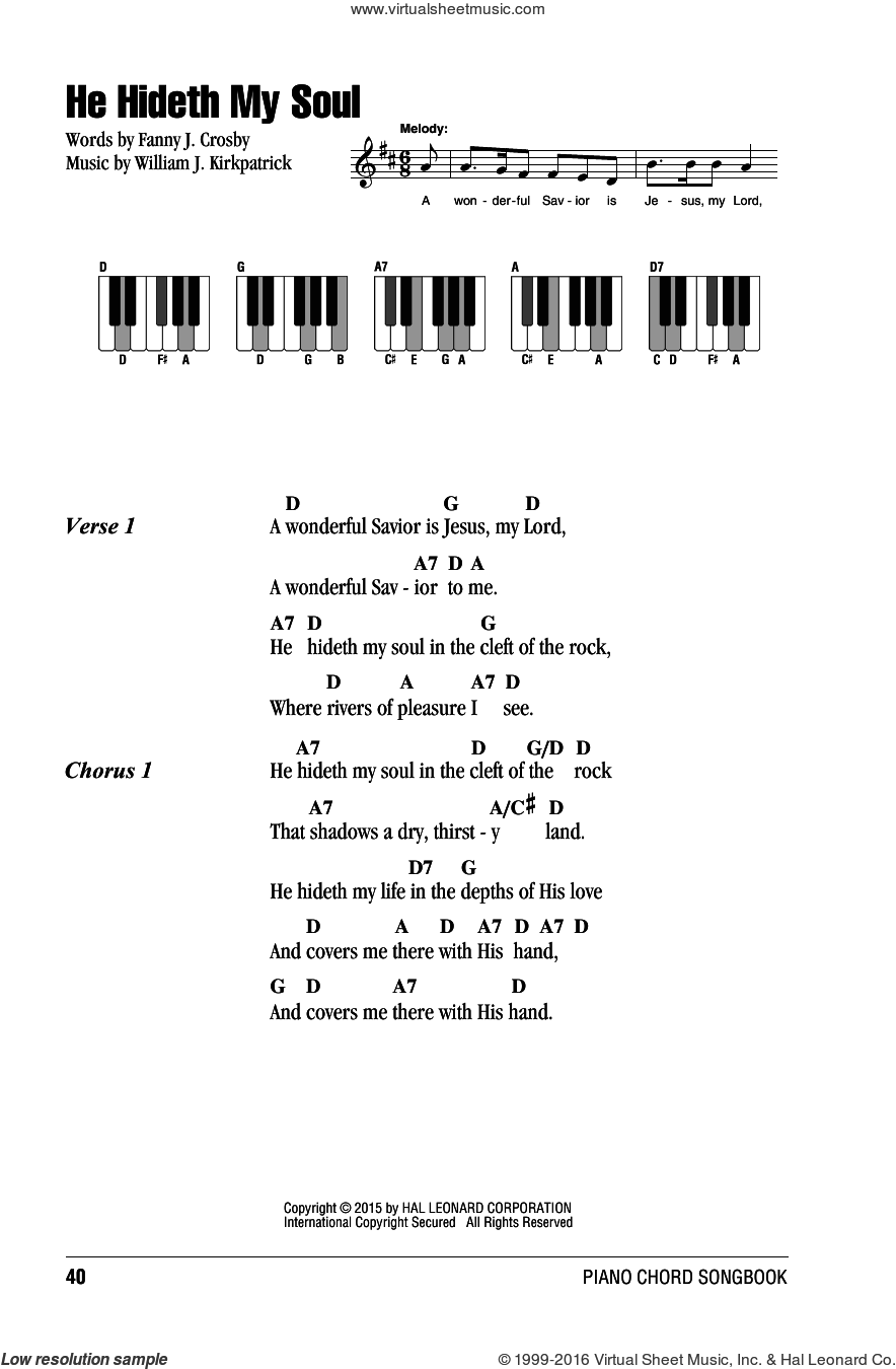 He Hideth My Soul sheet music for piano solo (chords, lyrics, melody) by Fanny J. Crosby and William J. Kirkpatrick. Score Image Preview.