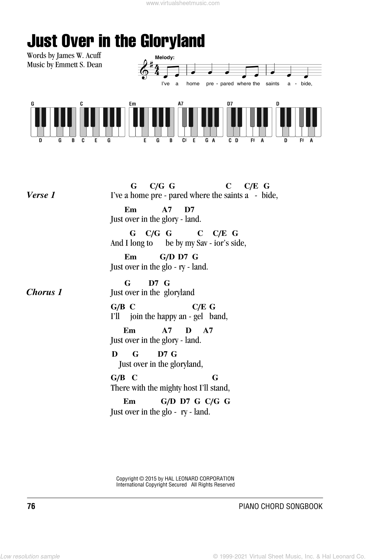Just Over In The Gloryland sheet music for piano solo (chords, lyrics, melody) by Emmett S. Dean. Score Image Preview.