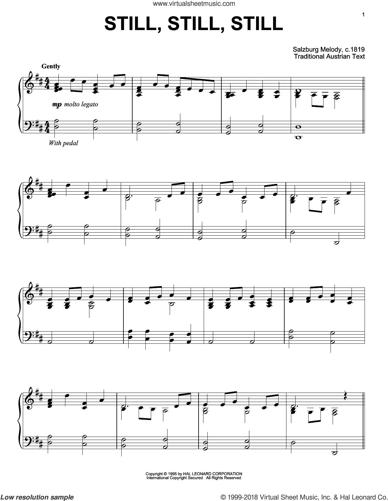 Still, Still, Still, (intermediate) sheet music for piano solo, intermediate skill level