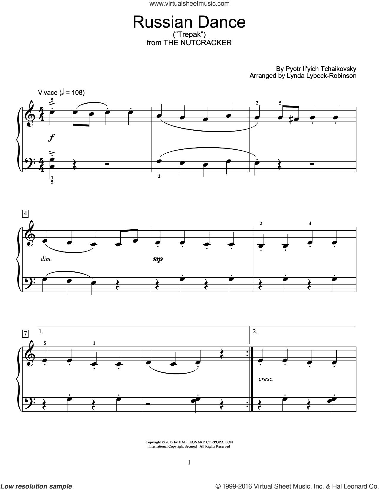 Russian Dance ('Trepak') sheet music for piano solo (elementary) by Pyotr Ilyich Tchaikovsky and Lynda Lybeck-Robinson, classical score, beginner piano (elementary)