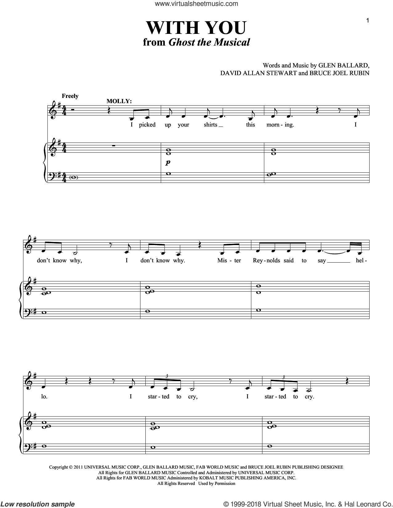 With You sheet music for voice and piano by David Allan Stewart, Richard Walters, Bruce Joel Rubin and Glen Ballard, intermediate skill level