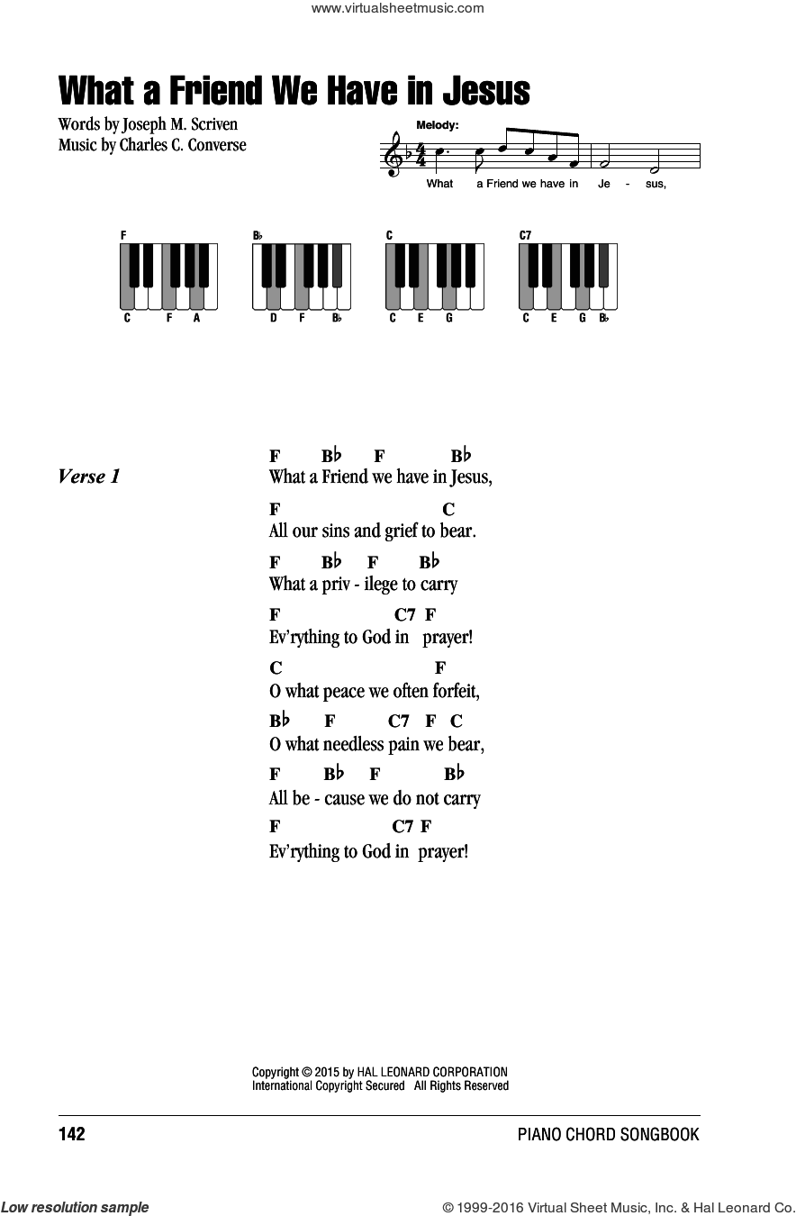 What A Friend We Have In Jesus sheet music for piano solo (chords, lyrics, melody) by Joseph M. Scriven and Charles C. Converse. Score Image Preview.