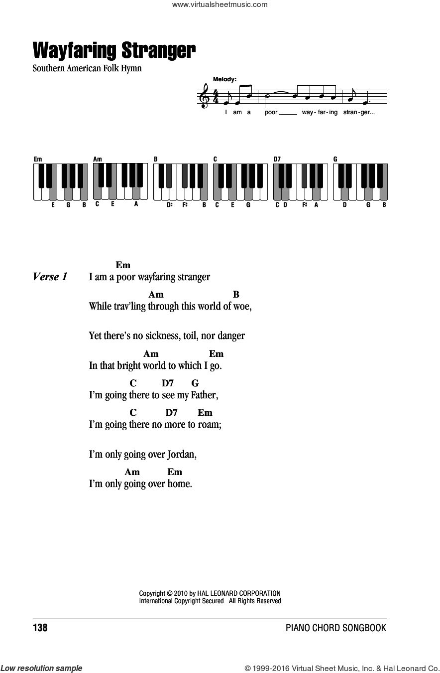 Wayfaring Stranger sheet music for piano solo (chords, lyrics, melody), intermediate piano (chords, lyrics, melody)