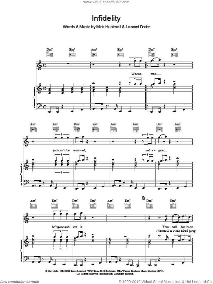 Infidelity sheet music for voice, piano or guitar by Mick Hucknall