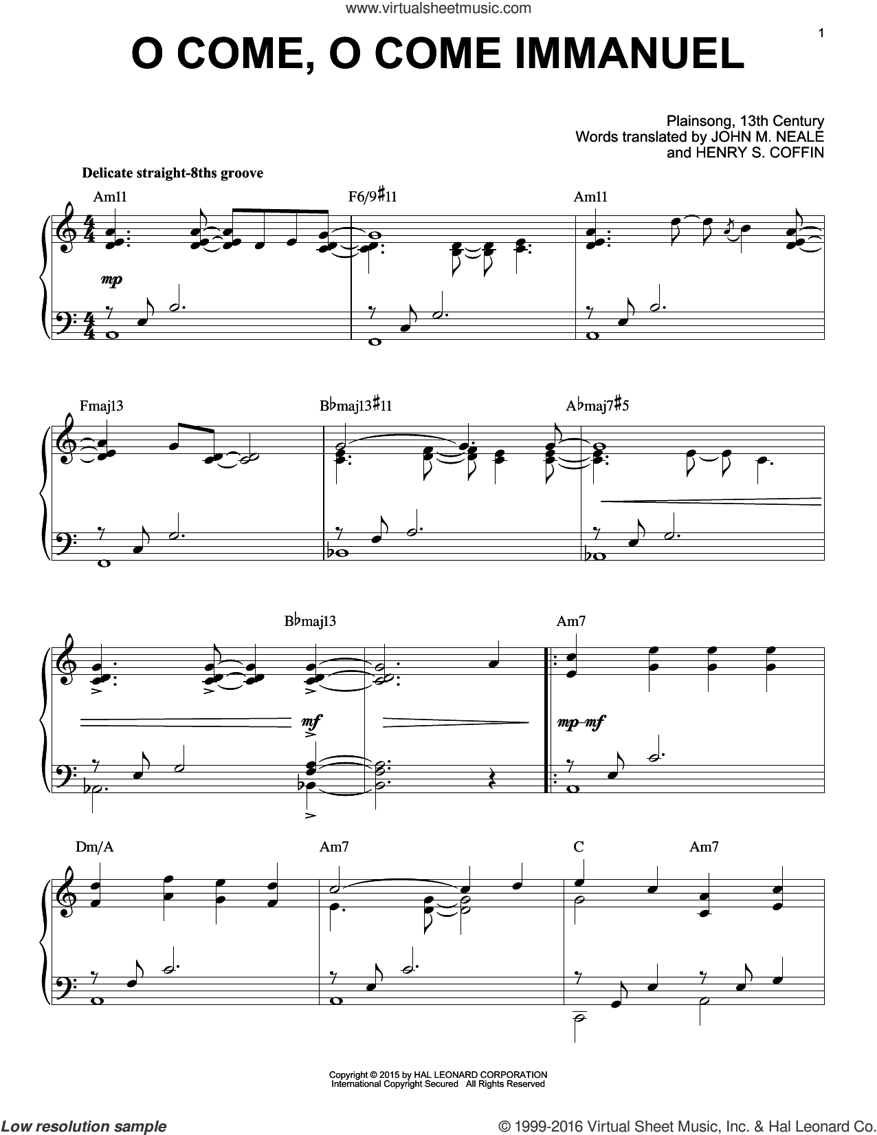 O Come, O Come Immanuel sheet music for piano solo by John M. Neale (v. 1,2) and Henry S. Coffin (trans.), intermediate skill level