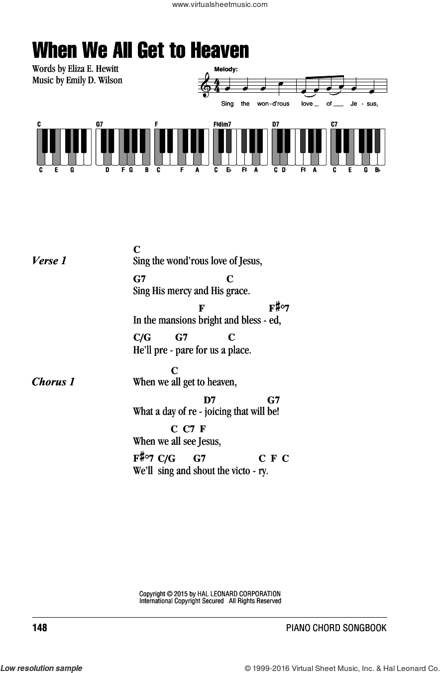 When We All Get To Heaven sheet music for piano solo (chords, lyrics, melody) by Emily D. Wilson and Eliza E. Hewitt. Score Image Preview.
