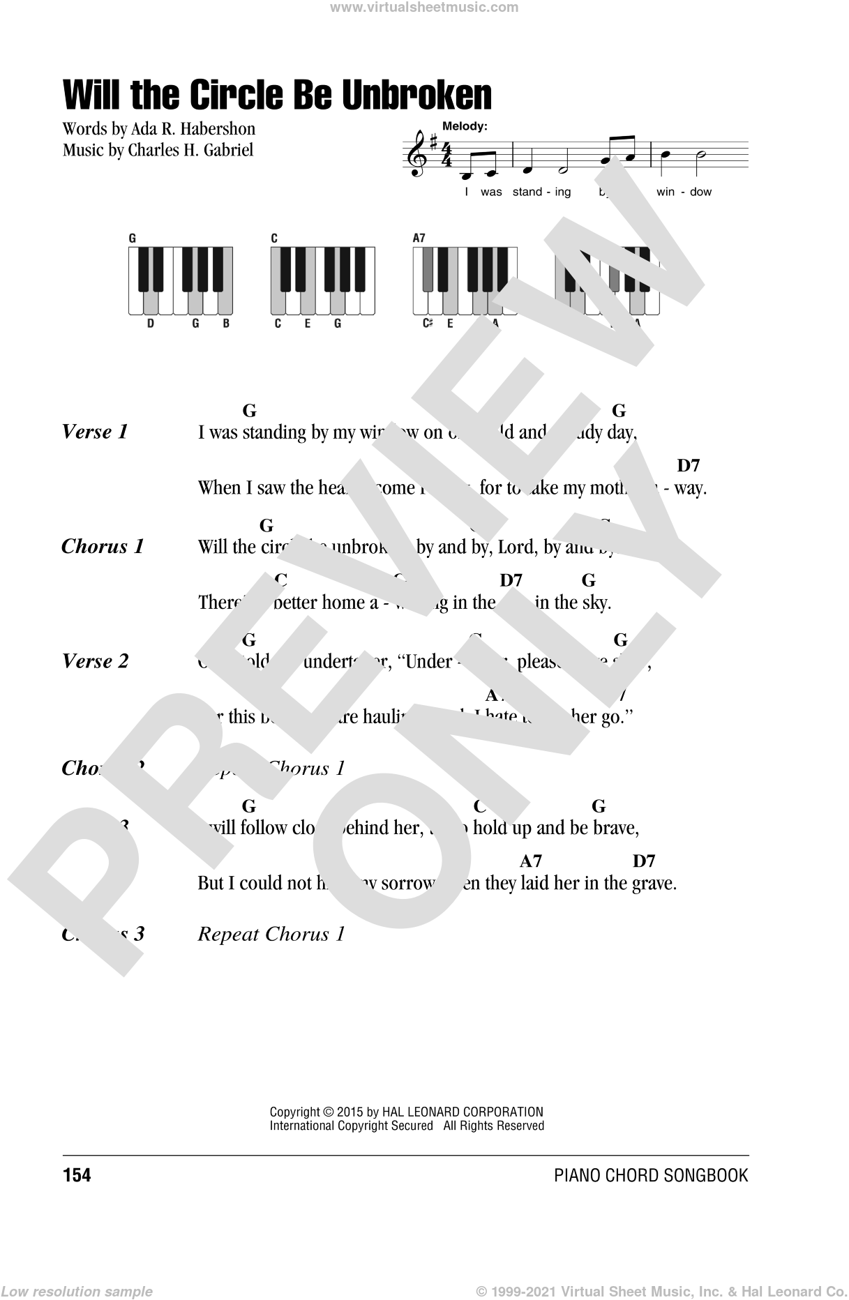 Will The Circle Be Unbroken sheet music for piano solo (chords, lyrics, melody) by Ada R. Habershon and Charles H. Gabriel. Score Image Preview.