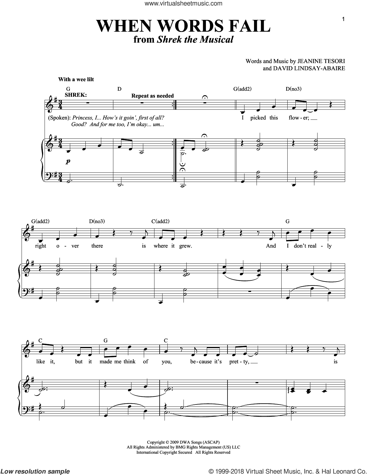 When Words Fail sheet music for voice and piano by Jeanine Tesori & David Lindsay-Abaire, Richard Walters, David Lindsay-Abaire and Jeanine Tesori. Score Image Preview.