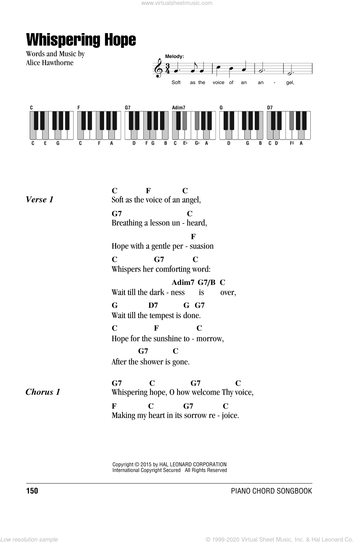 Whispering Hope sheet music for piano solo (chords, lyrics, melody) by Septimus Winner and Alice Hawthorne, intermediate piano (chords, lyrics, melody)
