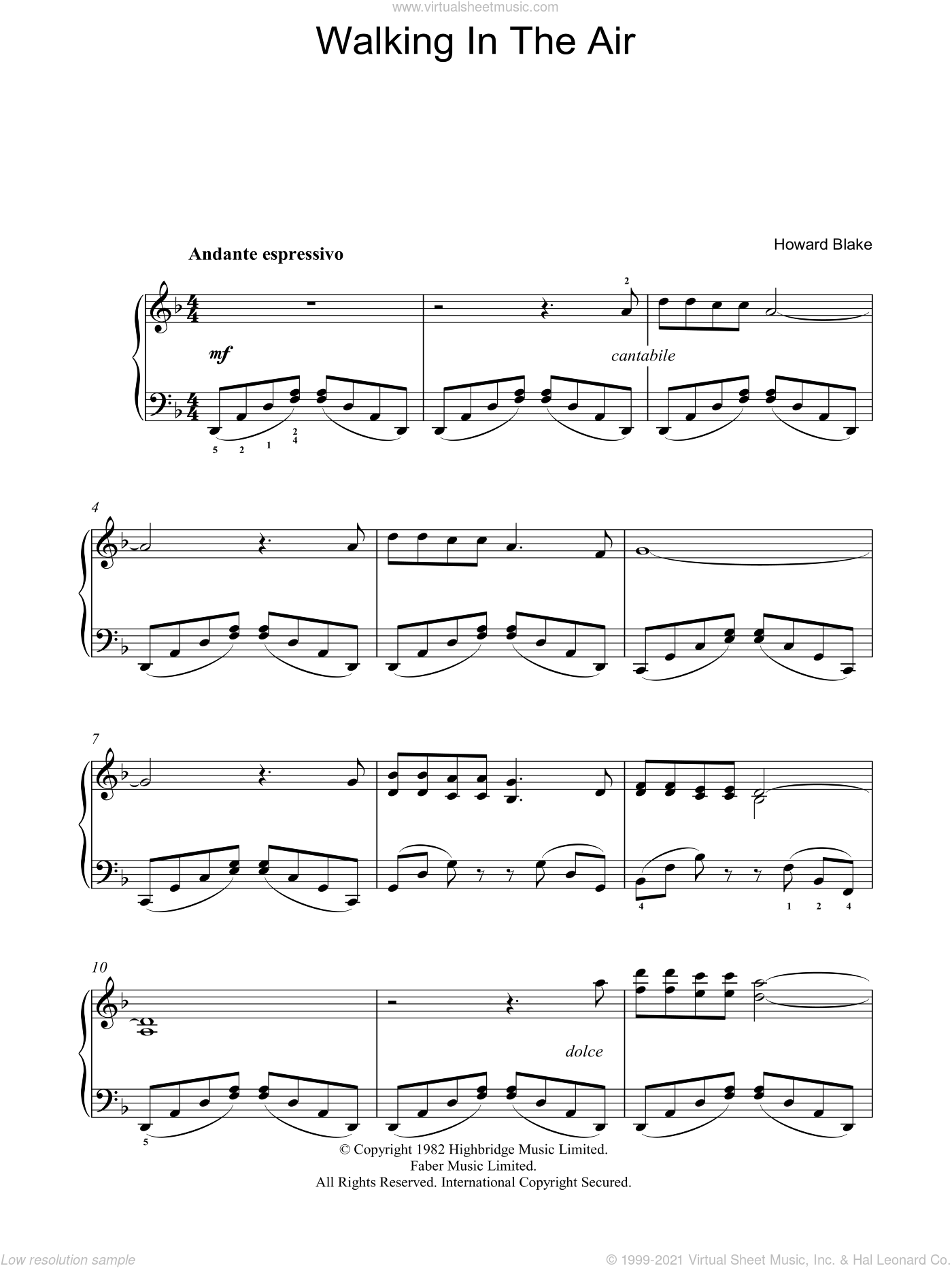 Walking In The Air sheet music for piano solo by Howard Blake and The Snowman (Movie), intermediate. Score Image Preview.