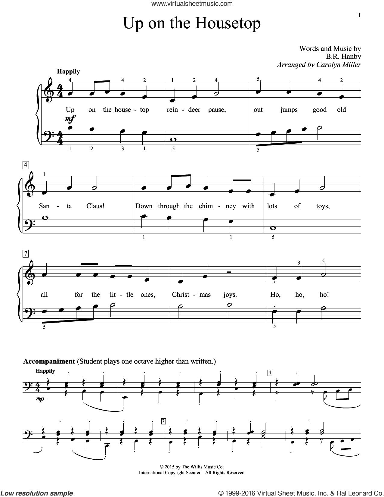 Up On The Housetop sheet music for piano solo (elementary) by Carolyn Miller and Benjamin Hanby. Score Image Preview.