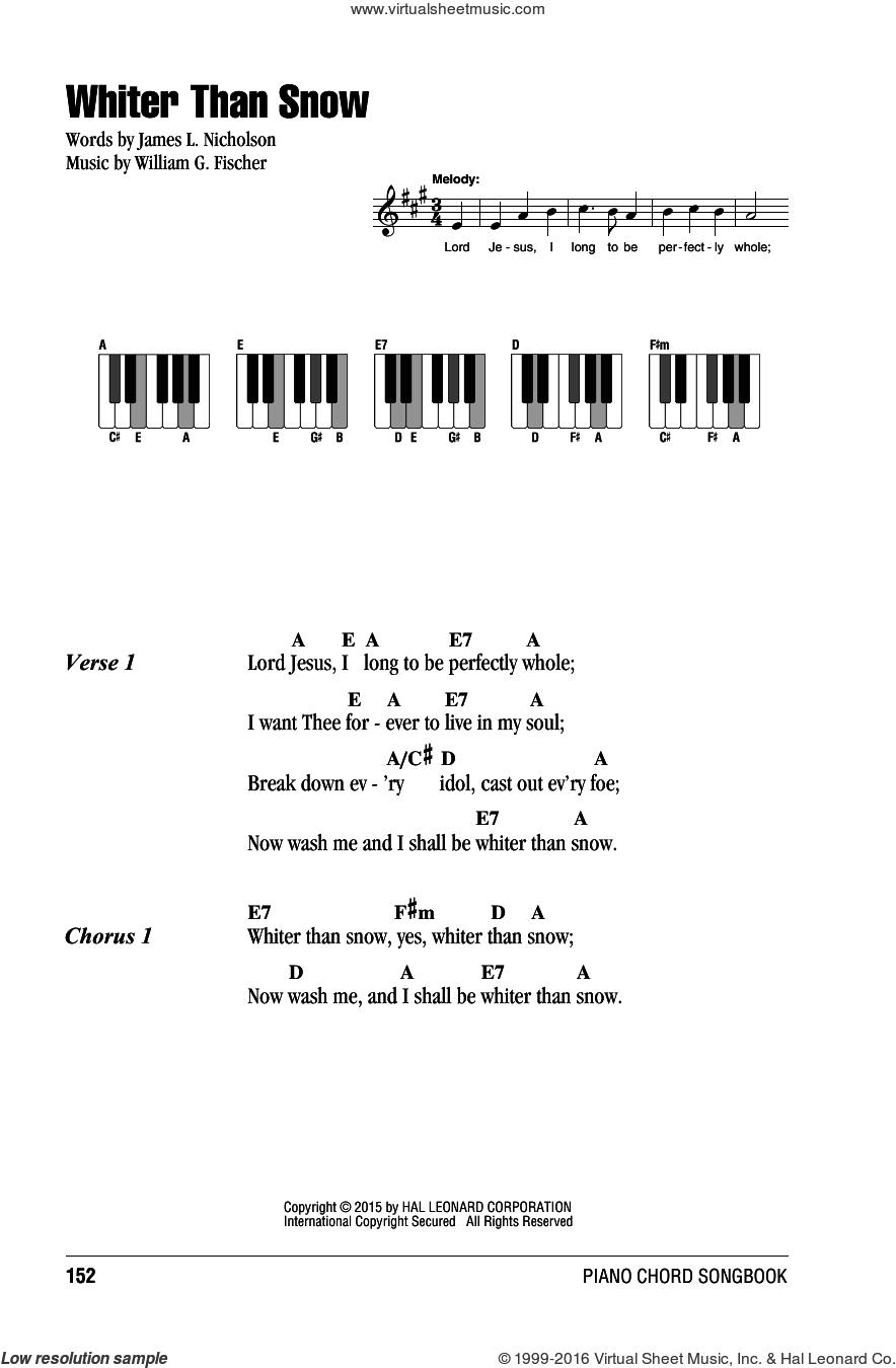 Whiter Than Snow sheet music for piano solo (chords, lyrics, melody) by William G. Fischer and James L. Nicholson. Score Image Preview.
