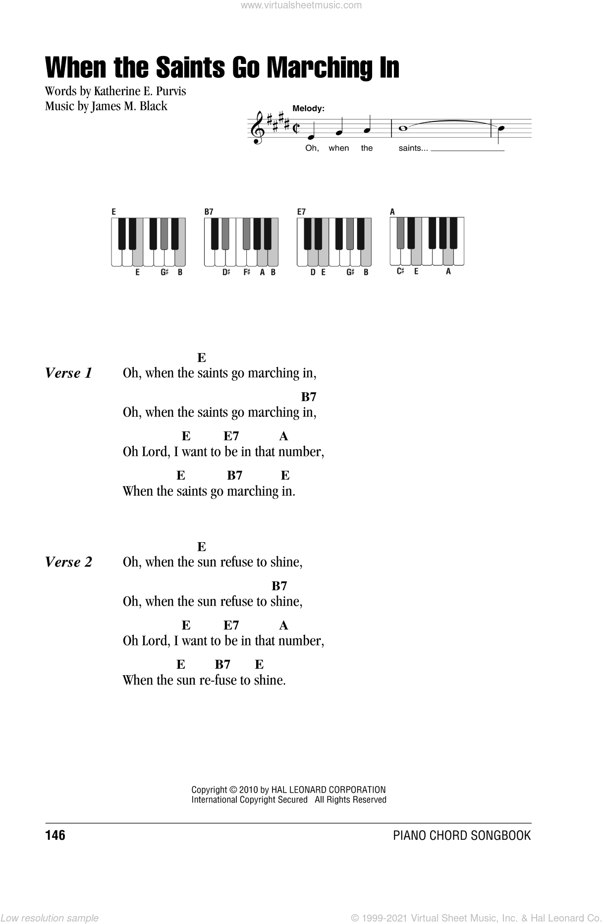 When The Saints Go Marching In sheet music for piano solo (chords, lyrics, melody) by Katherine E. Purvis and James M. Black. Score Image Preview.