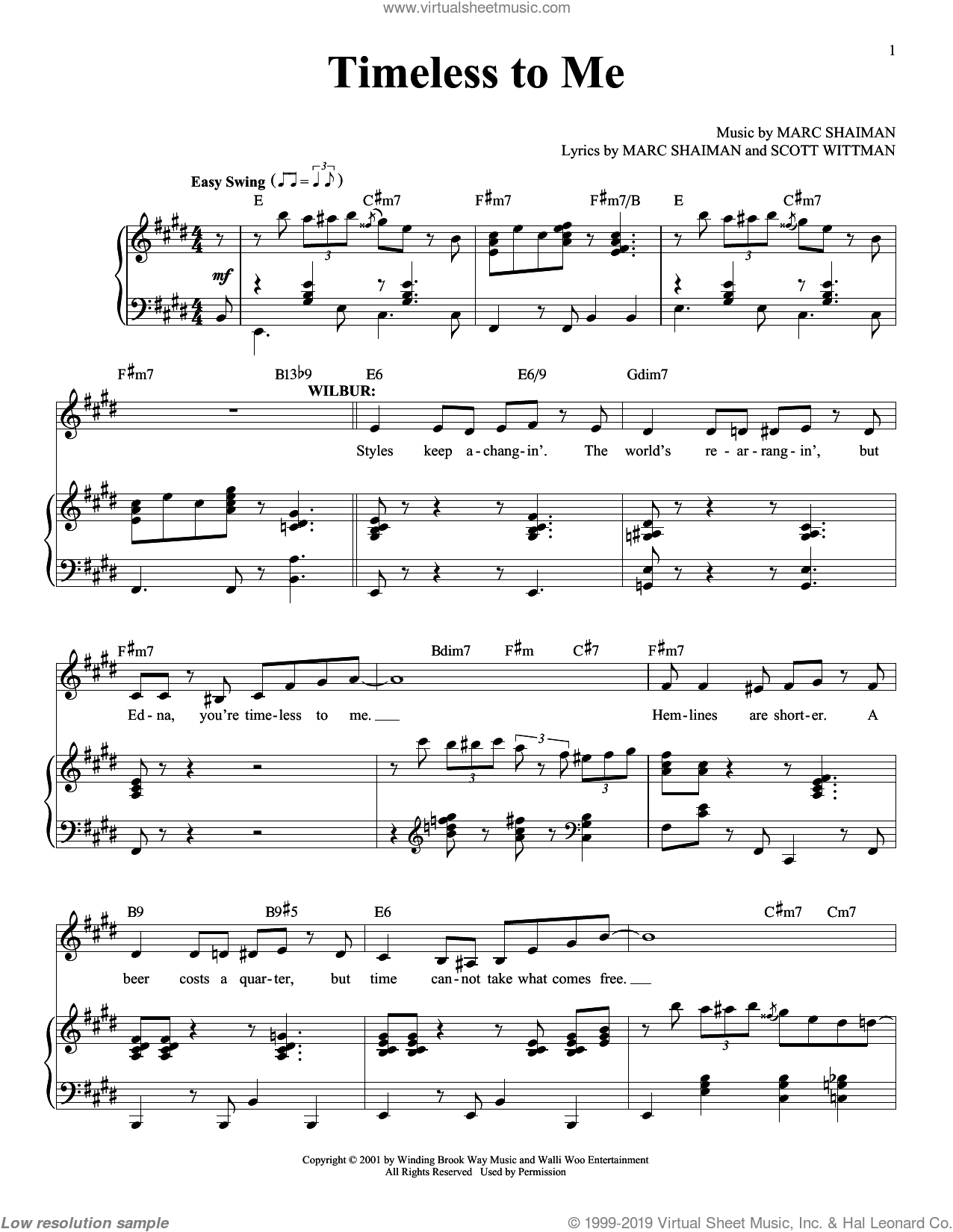 Timeless To Me sheet music for voice and piano by Marc Shaiman and Scott Wittman, classical score, intermediate skill level