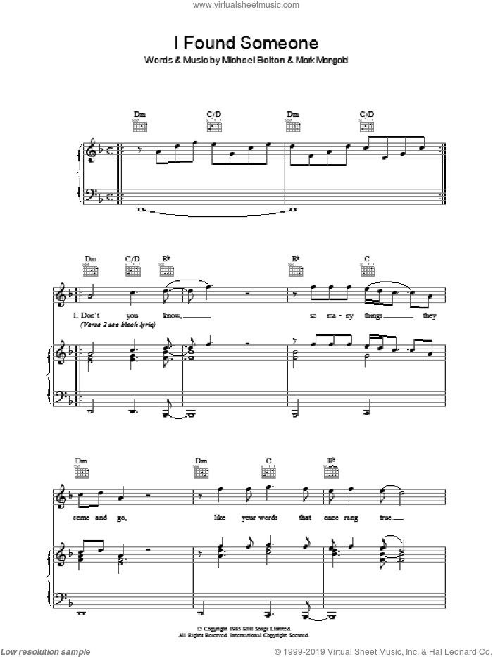 I Found Someone sheet music for voice, piano or guitar by Cher and Michael Bolton. Score Image Preview.
