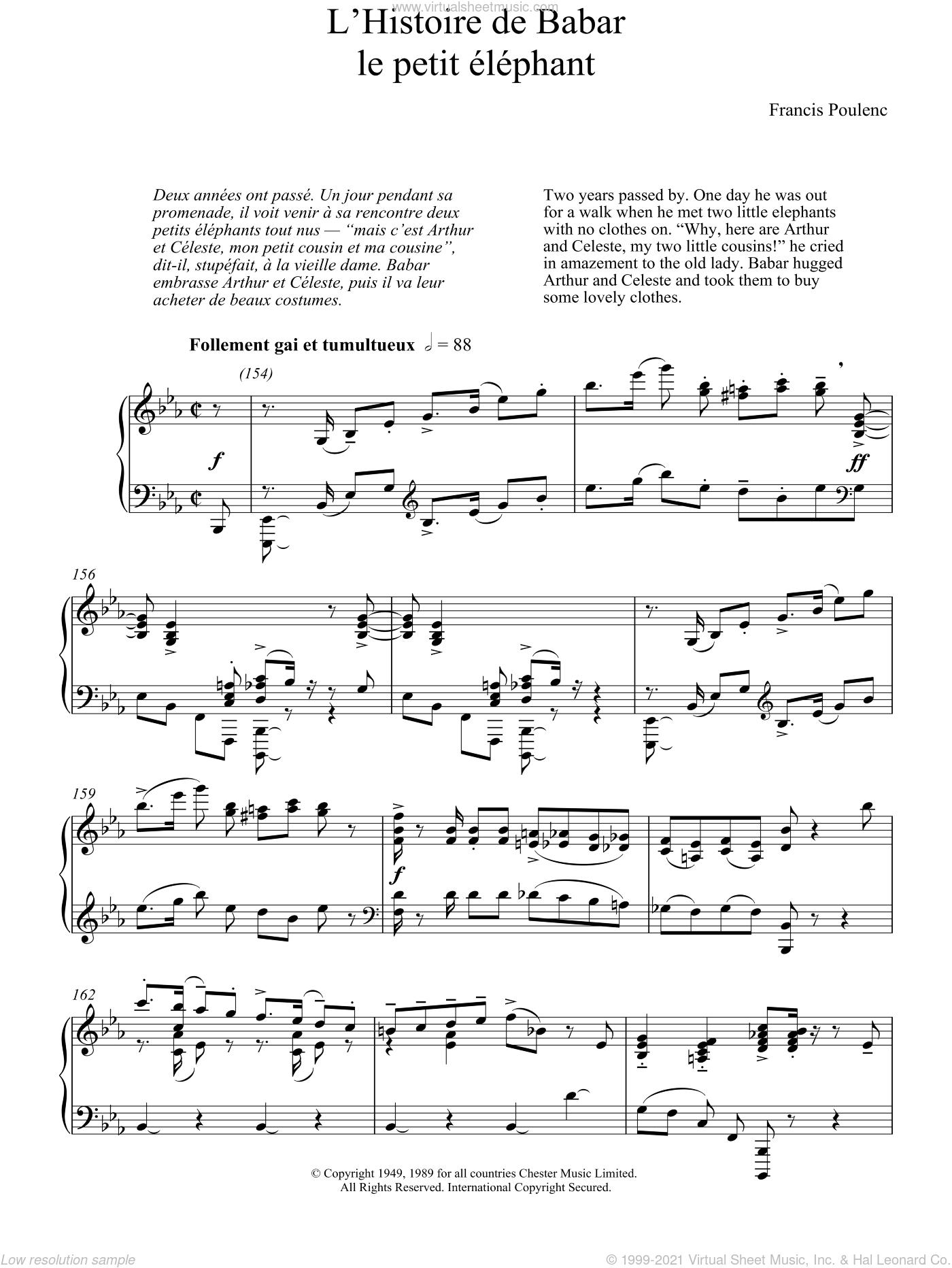 L'Histoire De Babar sheet music for piano solo by Francis Poulenc, classical score, intermediate skill level