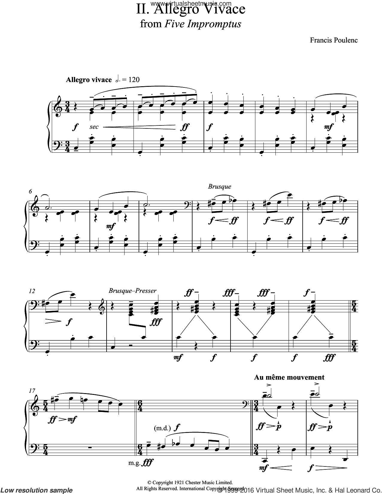 Allegro Vivace (From Five Impromptus) sheet music for piano solo by Francis Poulenc. Score Image Preview.