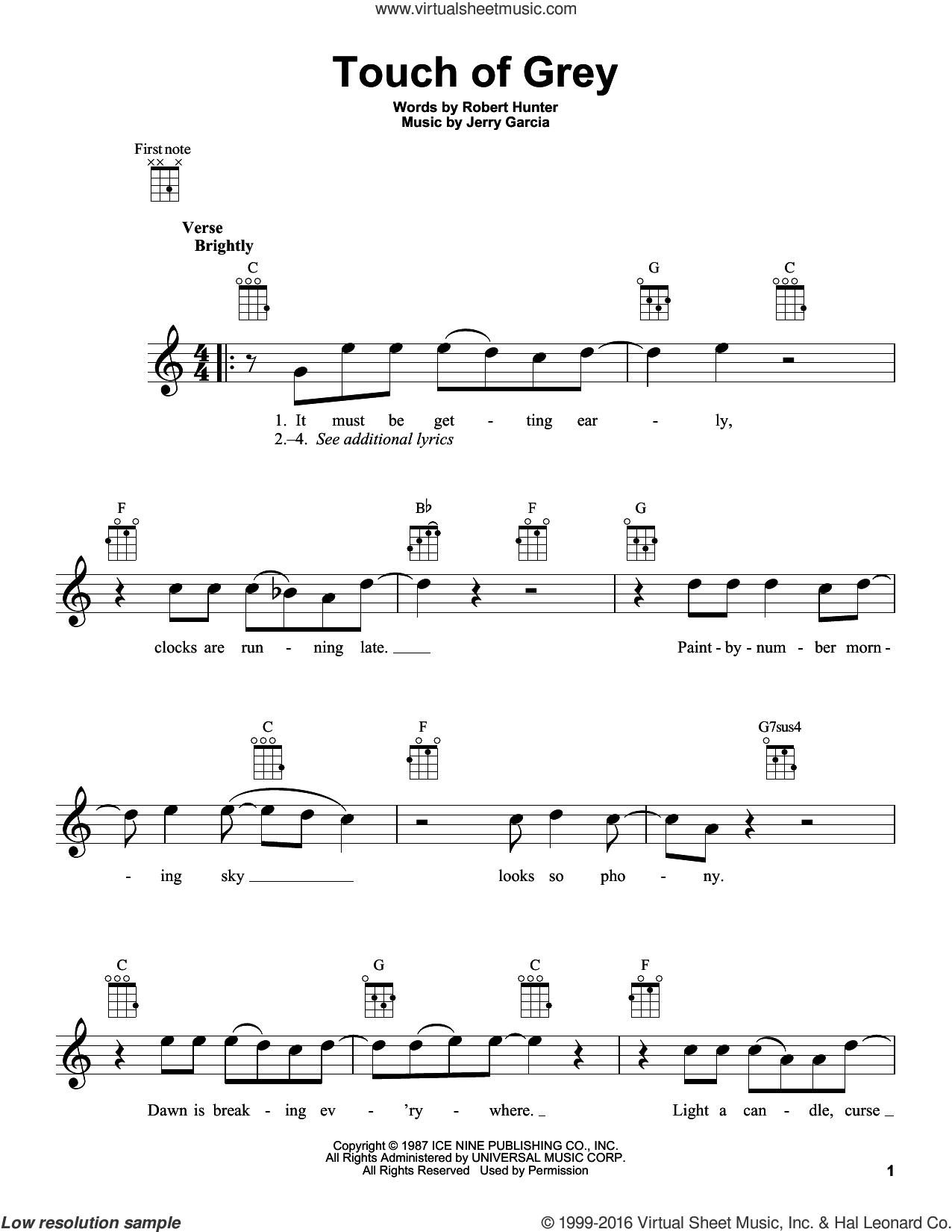 Touch Of Grey sheet music for ukulele by Robert Hunter and Grateful Dead. Score Image Preview.