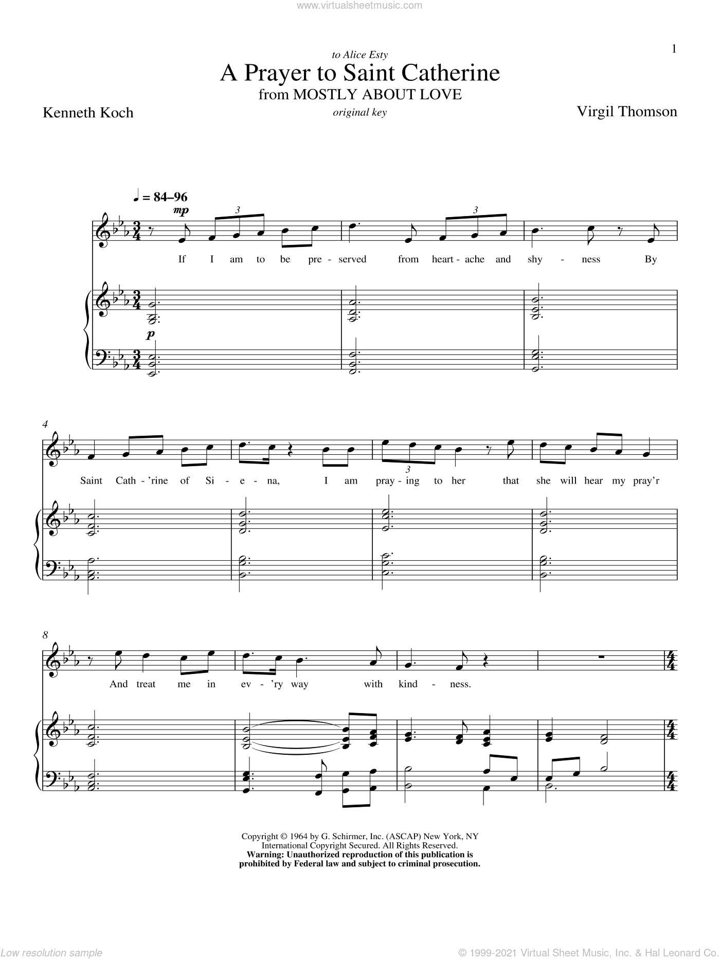 A Prayer To Saint Catherine sheet music for voice and piano (High ) by Kenneth Koch, Richard Walters and Virgil Thomson. Score Image Preview.
