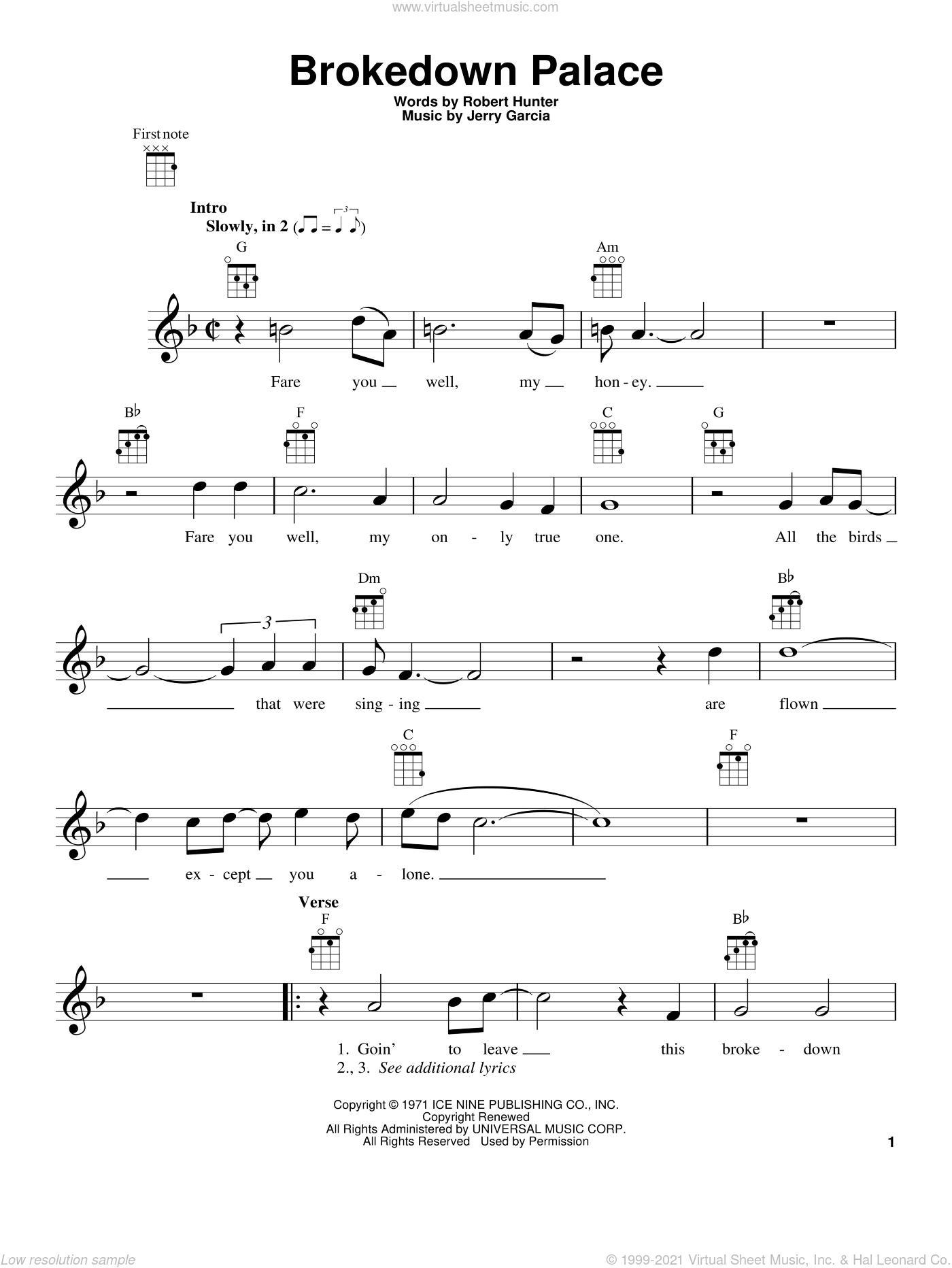 Brokedown Palace sheet music for ukulele by Grateful Dead, Jerry Garcia and Robert Hunter, intermediate skill level