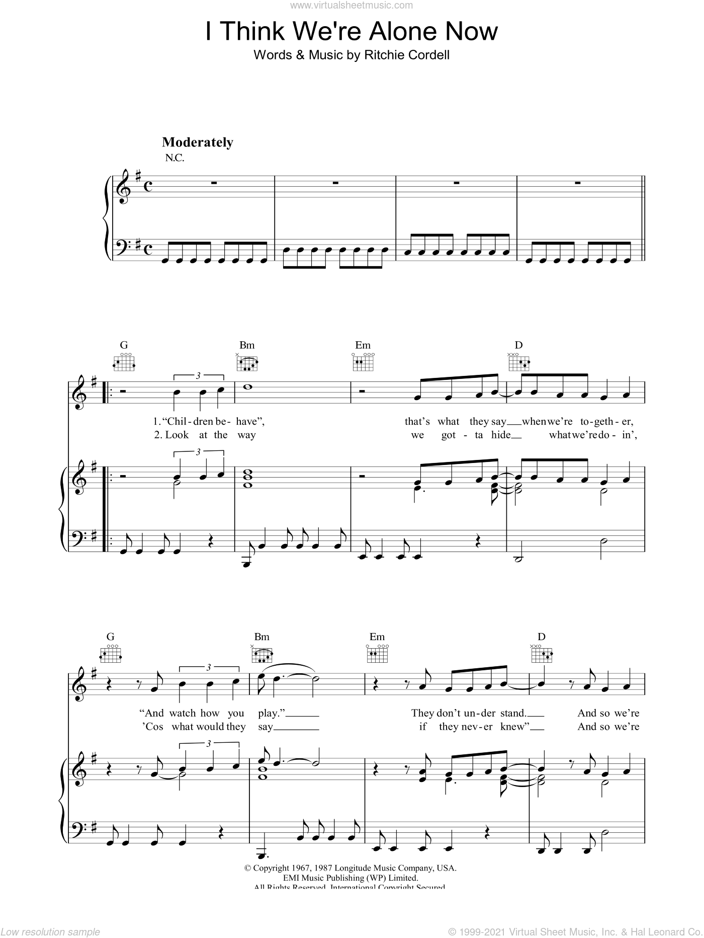 I Think We're Alone Now sheet music for voice, piano or guitar by Ritchie Cordell. Score Image Preview.